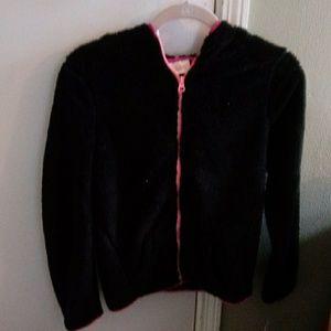 NWT So Black w/Sparkle Hooded Faux Fur Jacket 14